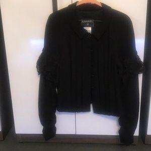 Chanel 07c black woven wool ruched silk chiffon